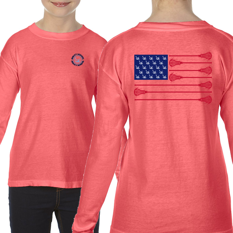 Jemicy LaxFlagYouth  Long Sleeve T-Shirt - Neon Red Orange