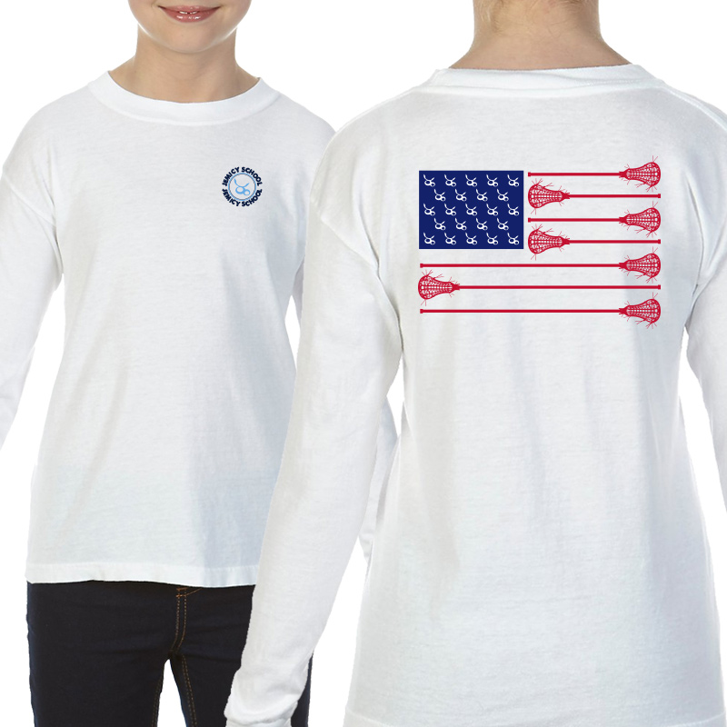 Jemicy LaxFlagYouth  Long Sleeve T-Shirt - White
