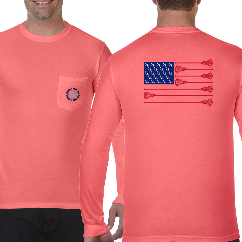 Jemicy LaxFlagAdult  Long Sleeve Pocket T-Shirt - Neon Red Orange