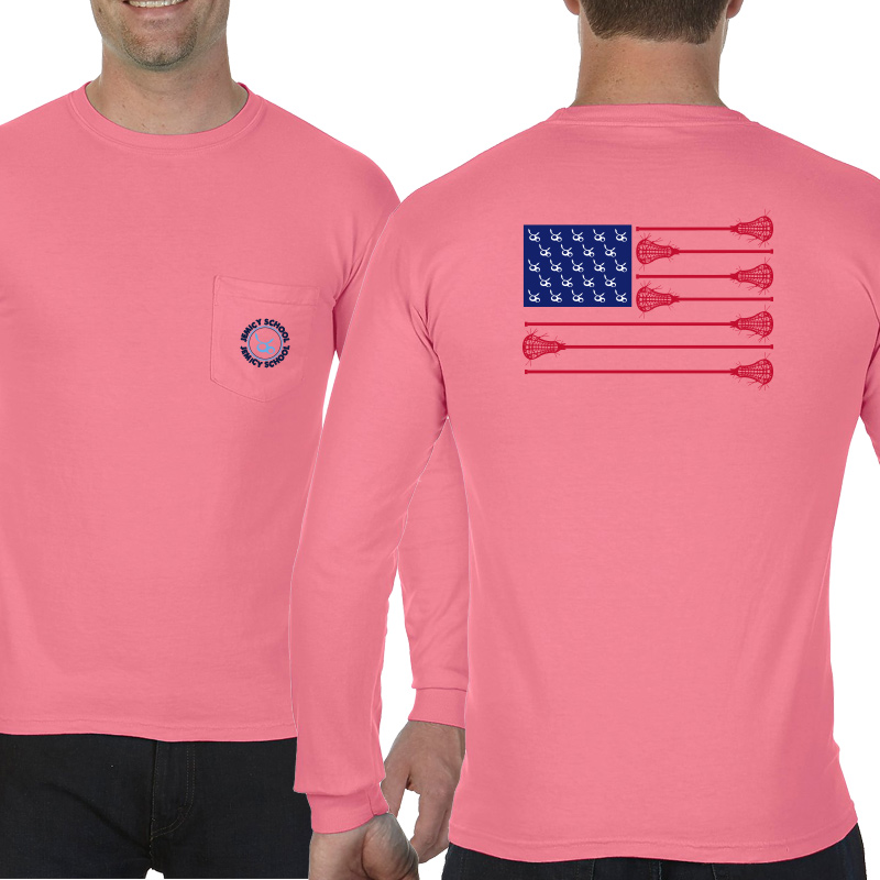 Jemicy LaxFlagAdult  Long Sleeve Pocket T-Shirt - Peony