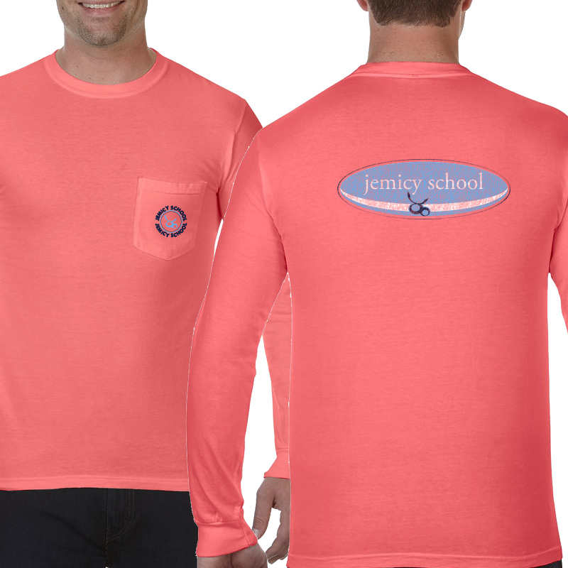 Jemicy Surf Adult  Long Sleeve Pocket T-Shirt - Neon Red Orange