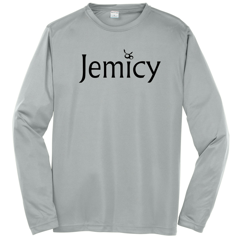 Jemicy Text Sport-Tek® Dry Zone® Long Sleeve Raglan T-Shirt - Silver