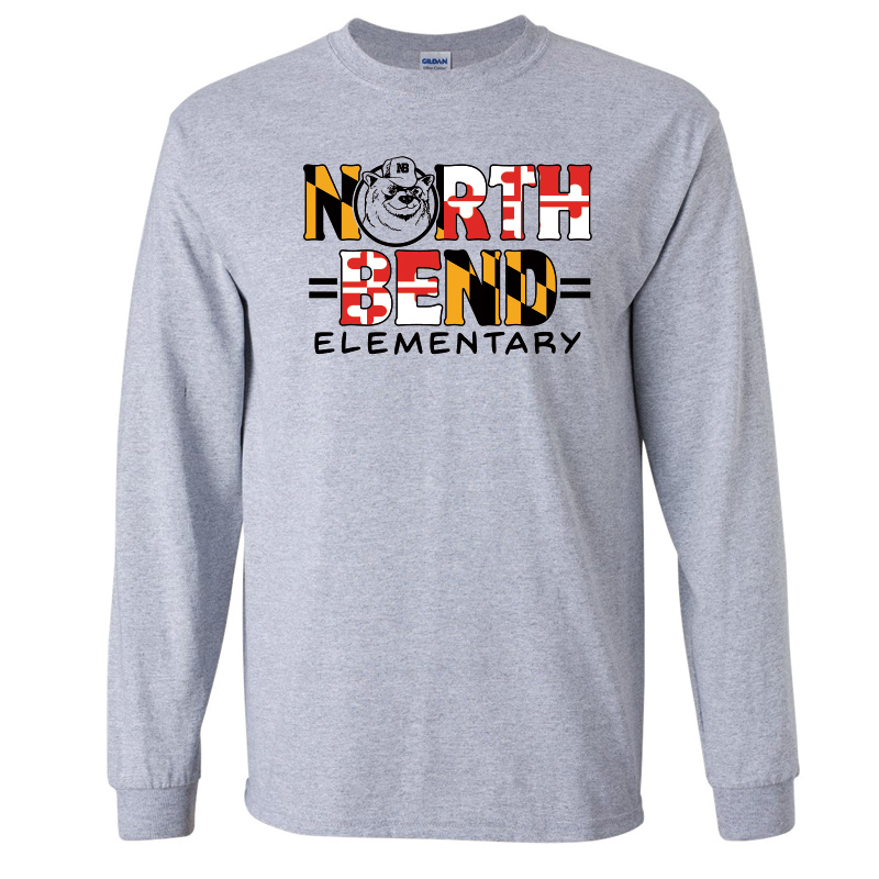 North Bend MD Flag  Cotton Long Sleeve T-Shirt : Youth and Adult  - Sports Grey