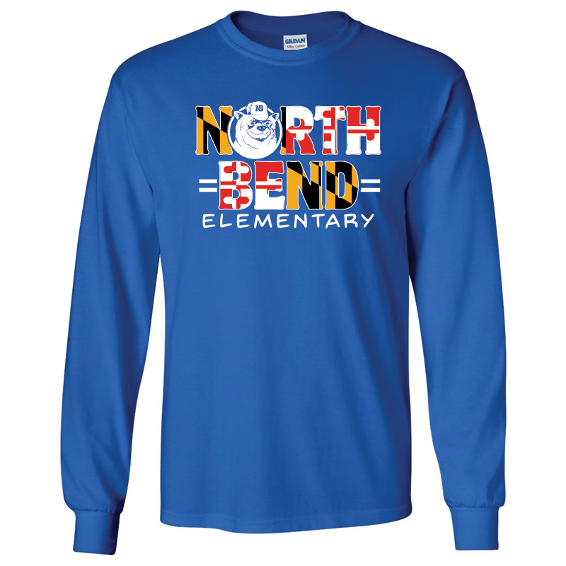 North Bend MD Flag  Cotton Long Sleeve T-Shirt : Youth and Adult  - Royal