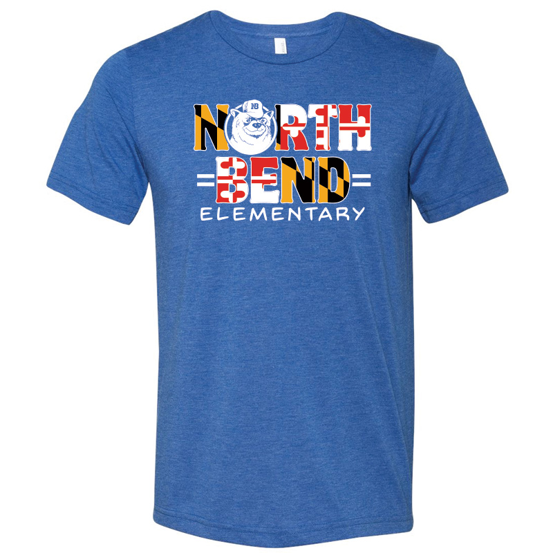 North Bend MD Flag  Triblend Jersey Short Sleeve Tee  : Adult  - Royal