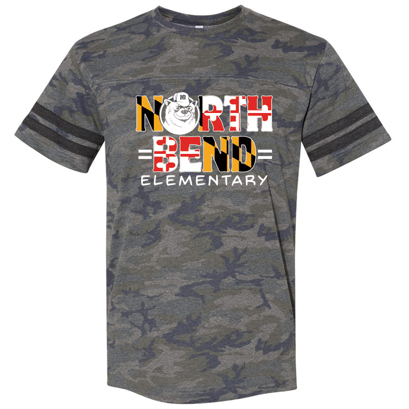 North Bend MD Flag  Football Fine Jersey Tee : Youth and Adult  - Vintage Camo
