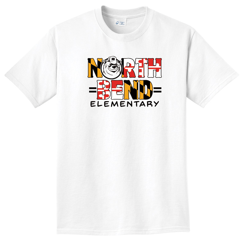 North Bend MD Flag  Pigment-Dyed Tee : Youth and Adult  - white