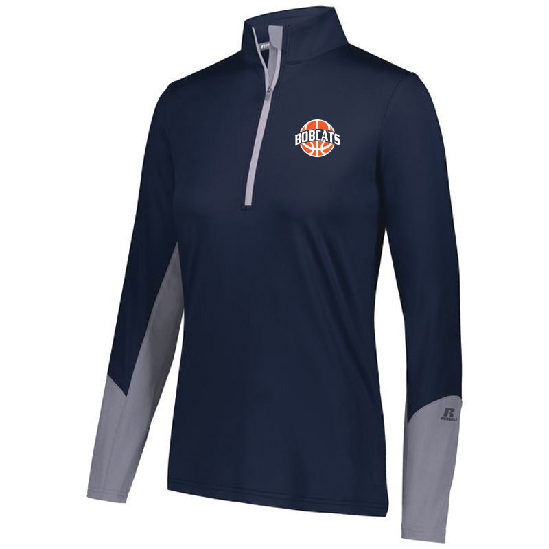 BAHS Ladies Basketball 1/4 Zip Hybrid Pullover - Navy/Steel