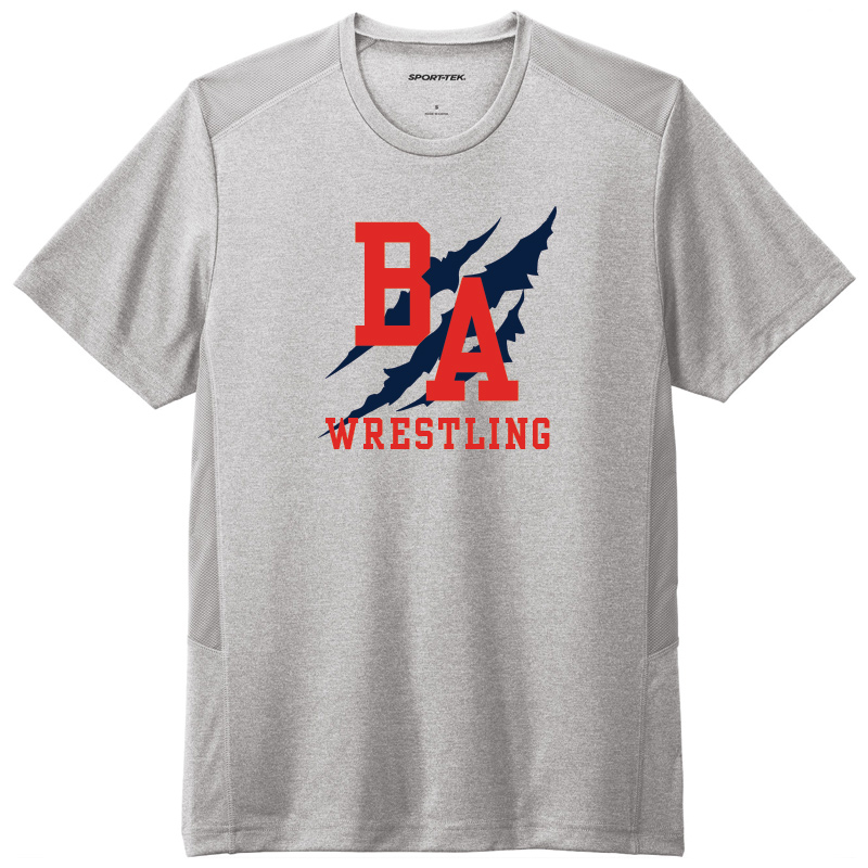 BAHS Wrestling Performance Short Sleeve Tee - Lt Grey Heather