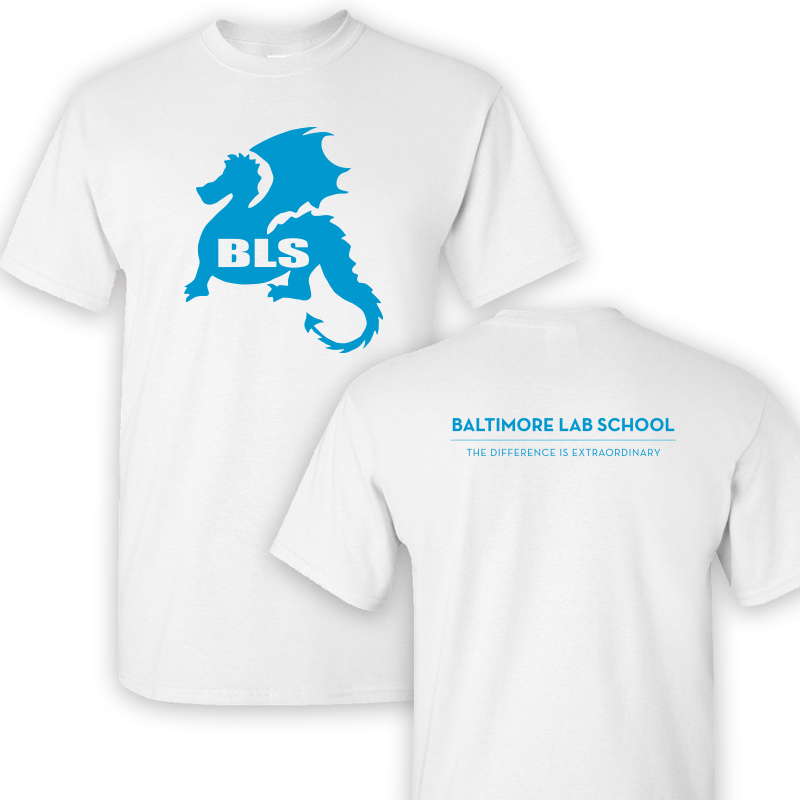 Baltimore Lab School 100% CottonShort Sleeve  T-Shirt-White