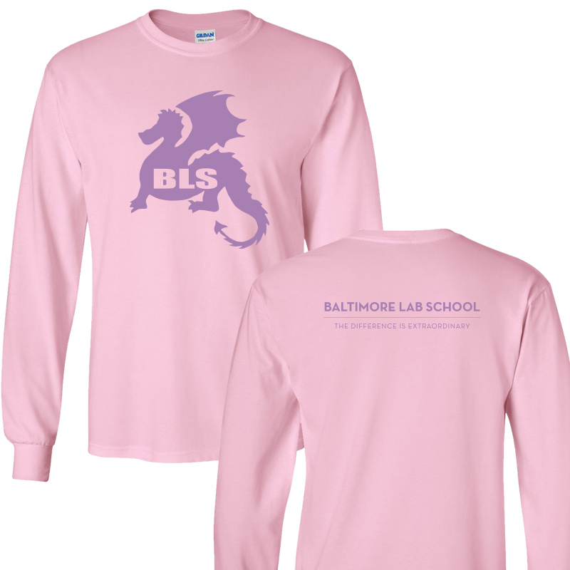 Baltimore Lab School 100% CottonLong Sleeve  T-Shirt-Light Pink