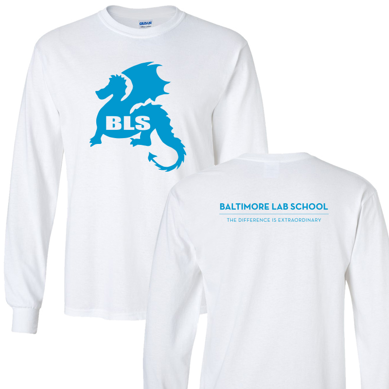 Baltimore Lab School 100% CottonLong Sleeve  T-Shirt-White