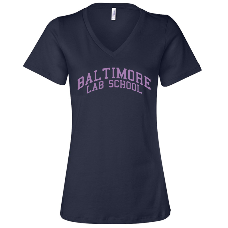 Baltimore Lab School Bella + Canvas Ladies' Relaxed Jersey Short-Sleeve V-Neck T-Shirt-Navy