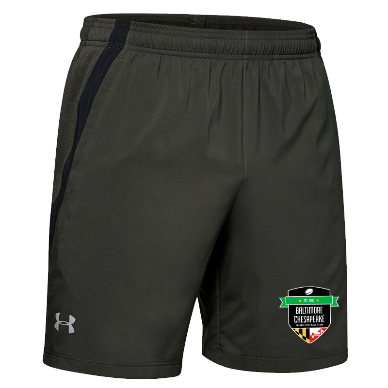 "Baltimore Chesapeake Rugby  UA launch SW 7"" Short with Pocket:Baroque Green"