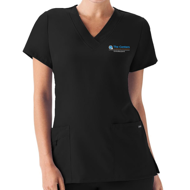 CAO OrthoMaryland Ladies V-Neck Scrub Top (Jockey) - Black