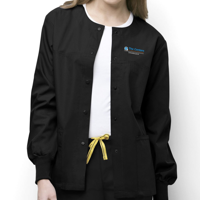 CAO OrthoMaryland Ladies Clinic Jacket (White Swan) - Black