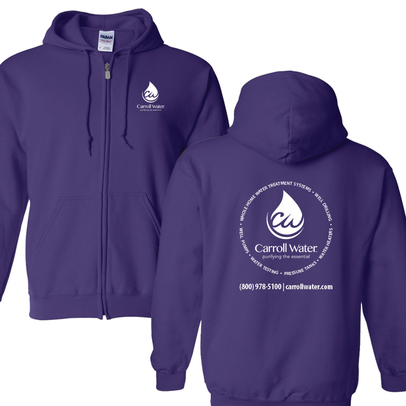 Carroll Water (Youth Colors) Hooded Zip- Sweatshirt - Purple