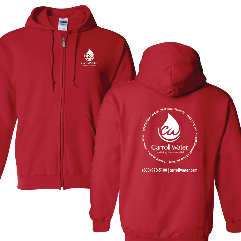 Carroll Water (Youth Colors) Hooded Zip- Sweatshirt - Red