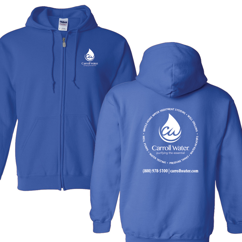 Carroll Water (Youth Colors) Hooded Zip- Sweatshirt - Royal