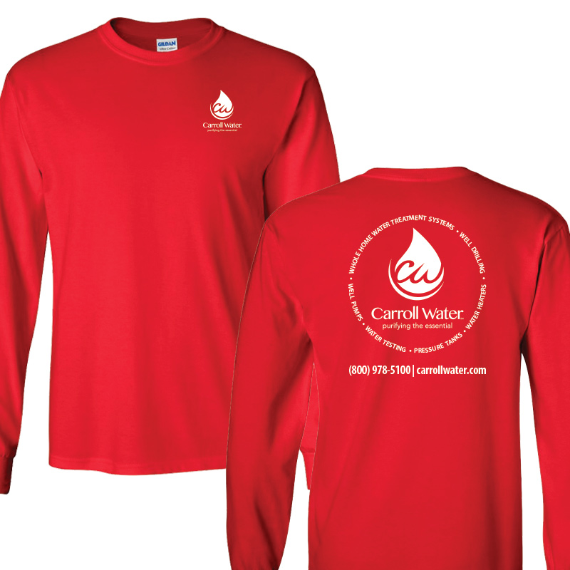 Carroll Water (Youth Colors) 100% Cotton Long Sleeve Tee - Red