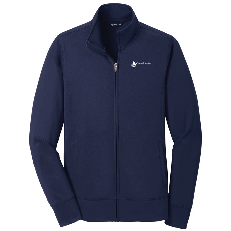Carroll Water  Ladies' Sport-Tek® Sport-Wick® Fleece Full-Zip Jacket - Navy- White Logo