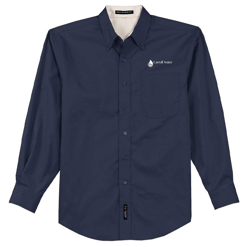Carroll Water Port Authority® Long Sleeve Easy Care Shirt - White & Navy- White Logo
