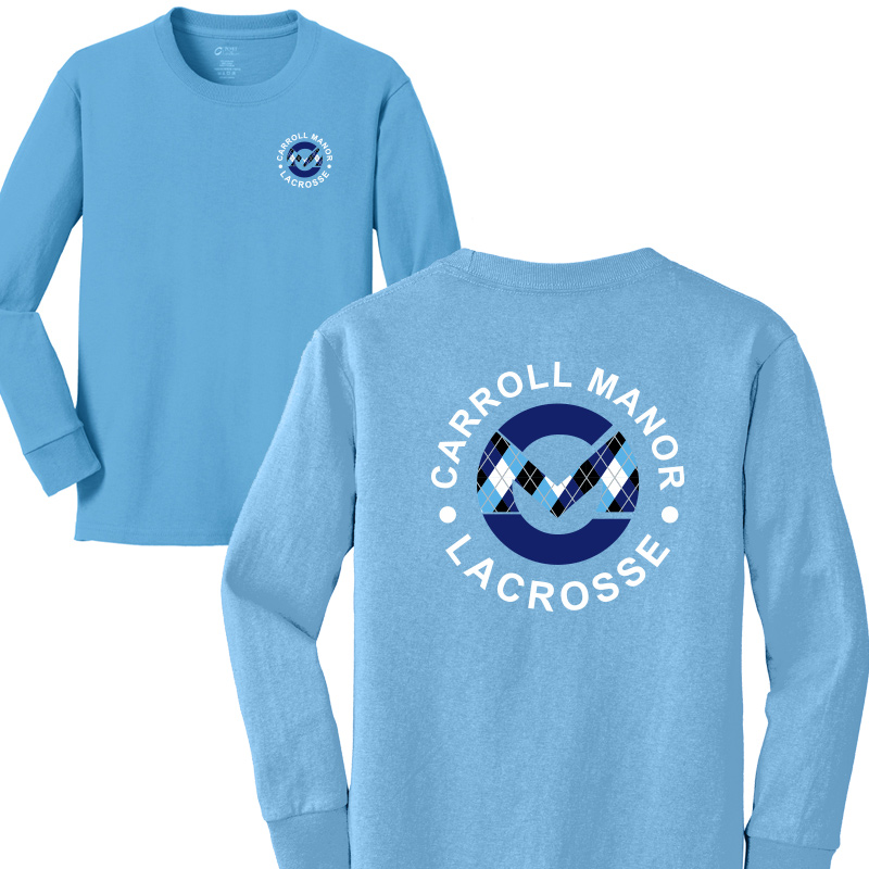 CMRC Lax Argyle Long Sleeve Core Cotton Tee - Aquatic Blue