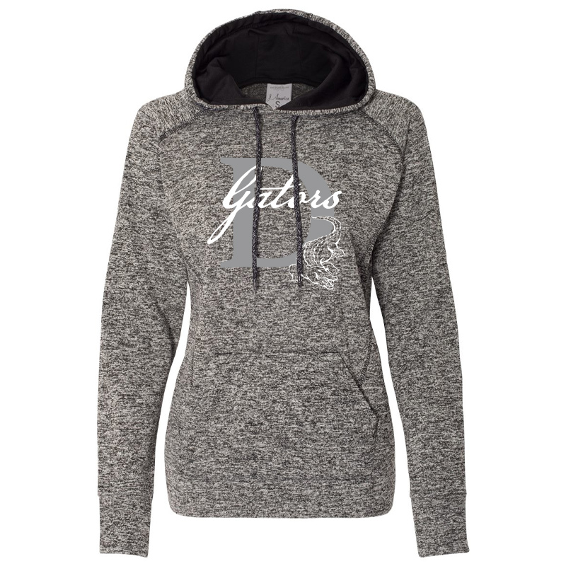 DES GATORS D Women's Cosmic Fleece Hooded Sweatshirt - Charcoal Fleck/ Black