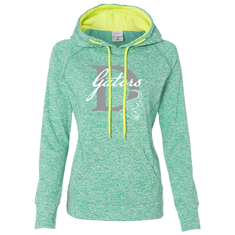 DES GATORS D Women's Cosmic Fleece Hooded Sweatshirt - Emerald/ Neon Yellow