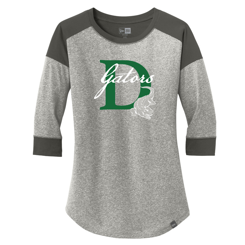 DES GATORS D Ladies Heritage Blend 3/4-Sleeve Baseball Raglan Tee - Graphite/ Light Graphite Twist