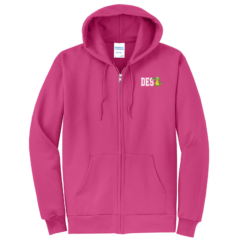 DES DES Gator  - Core Fleece Full-Zip Hooded Sweatshirt - SANGRIA
