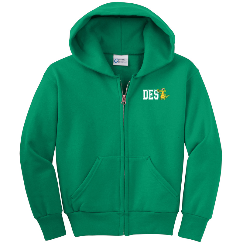 DES DES Gator  - Youth Core Fleece Full-Zip Hooded Sweatshirt - KELLY
