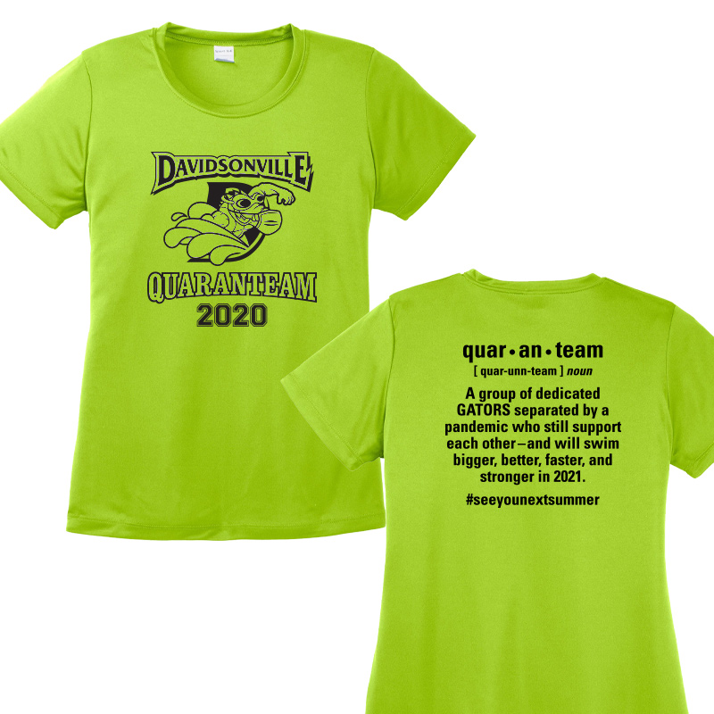 Davidsonville Swim 2020 quaranteam Ladies Performance Tee - LIME