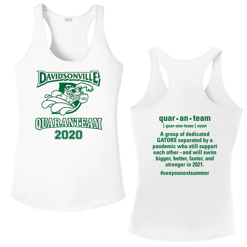 Davidsonville Swim 2020 quaranteam Performance Racerback Tank - WHITE
