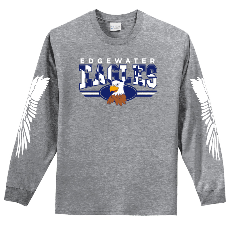 Edgewater  Eagles Long Sleeve Tee  - Heather Grey