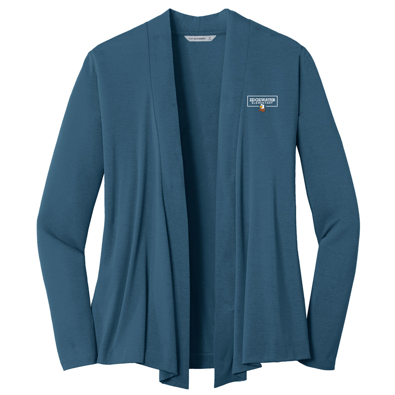 Edgewater  Left Chest  Ladies Open Cardigan - Dusty Blue
