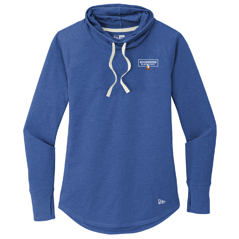 Edgewater  Left Chest  Ladies Sueded Cotton Blend Cowl Tee - Royal Heather
