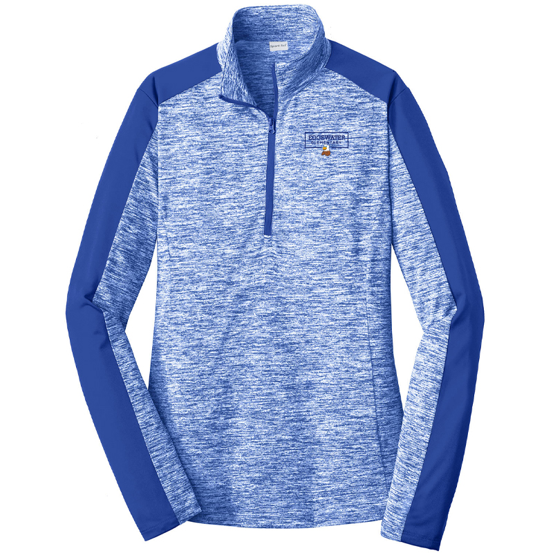 Edgewater  Left Chest  Ladies Electric Heather Colorblock 1/4-Zip Pullover - Royal