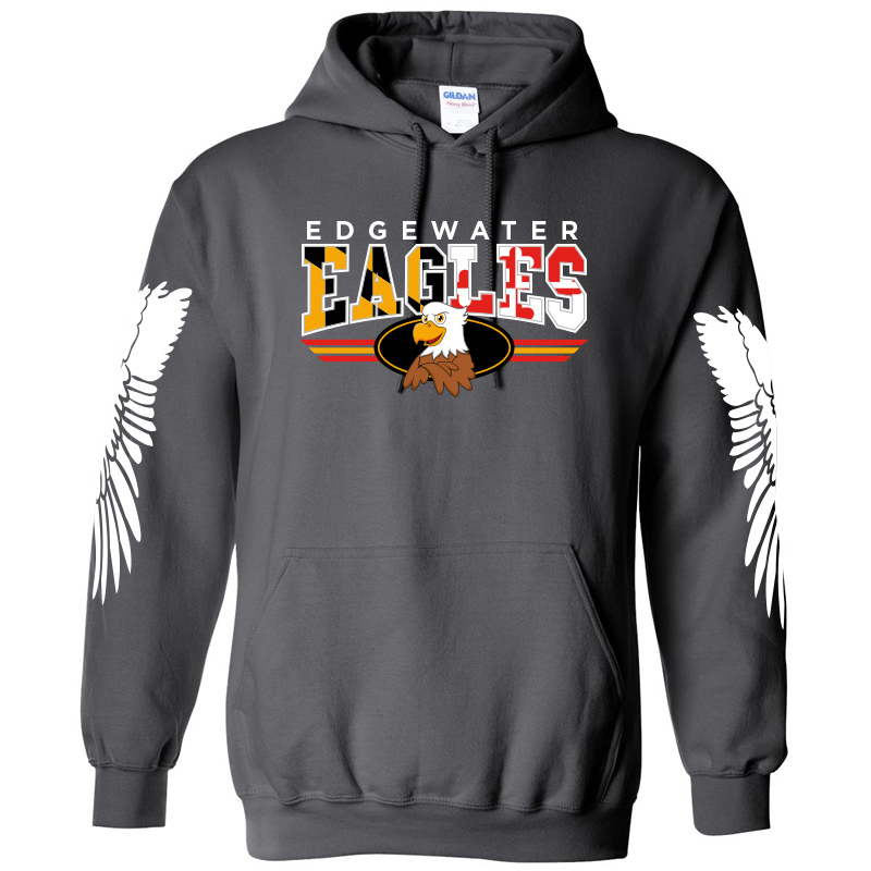 Edgewater  MD Flag with Wings  Hoodie  - Charcoal