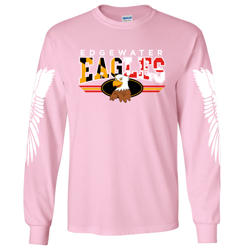 Edgewater  MD Flag with Wings  Long Sleeve Tee  - Lt. Pink