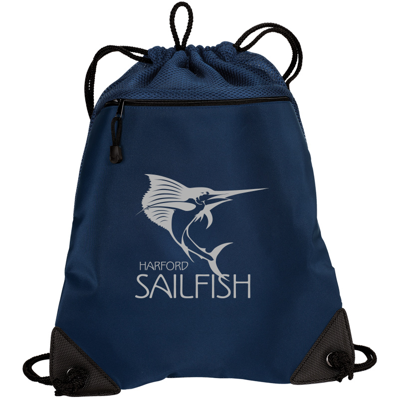 Harford Sailfish Cinch Backpack with Mesh Trim - Navy