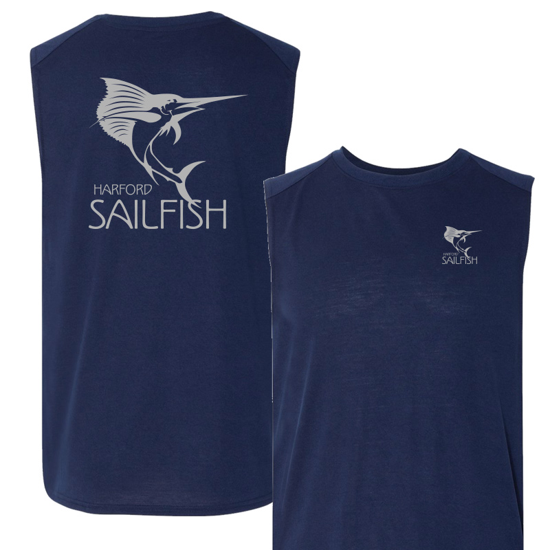 Harford Sailfish Mens Moisture Wicking Muscle Tank Top - Navy