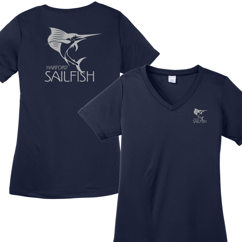 Harford Sailfish Ladies Moisture Wicking V Neck - Navy