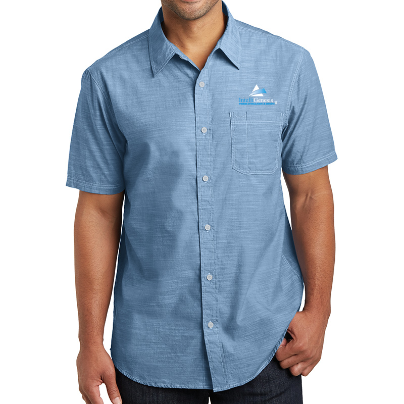 IntelliGenesis District Made Men's short Sleeve Washed Woven Shirt
