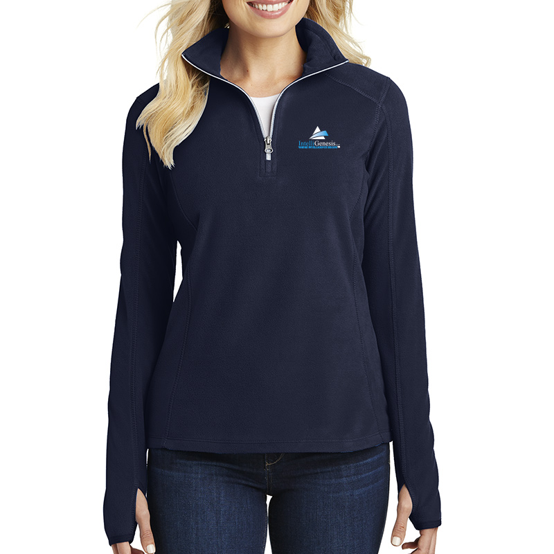 IntelliGenesis Port Authority Ladies Microfleece ½ Zip Pullover - True Navy