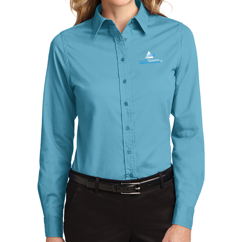 IntelliGenesis Port Authority Ladies Long Sleeve Easy Care Shirt - Maui Blue