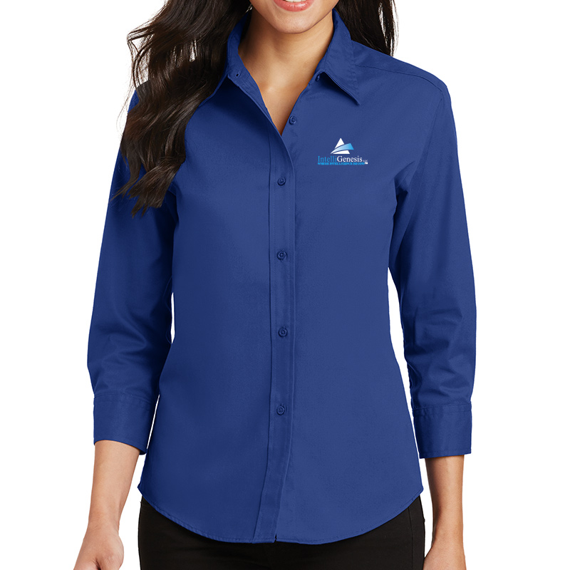 IntelliGenesis Port Authority Ladies ¾ Sleeve Easy Care Shirt - Royal