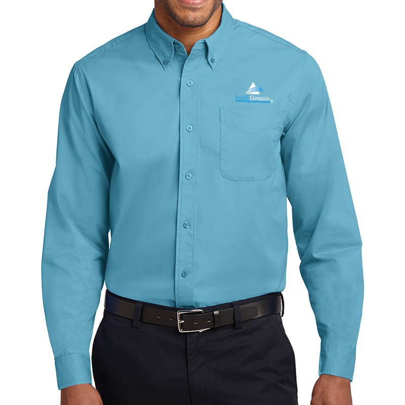IntelliGenesis Port Authority Long Sleeve Easy Care Shirt - Maui Blue