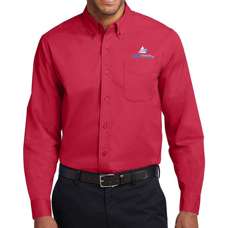 IntelliGenesis Port Authority Long Sleeve Easy Care Shirt - Red