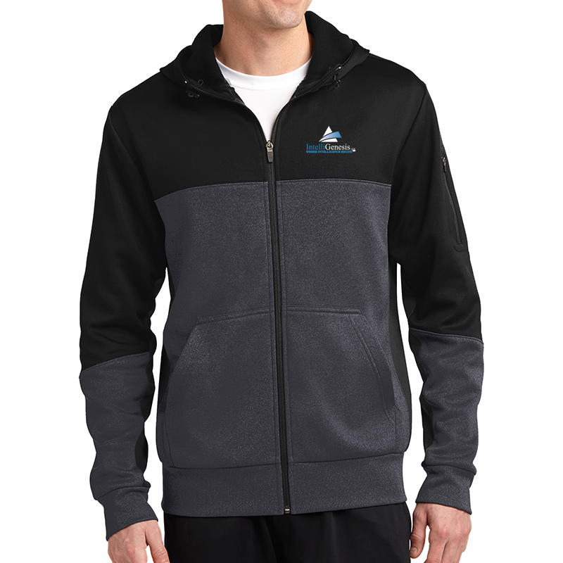 IntelliGenesis Sport Tek Tech Fleece Colorblock Full Zip hooded Jacket -Black/ Graphite Heather/ Black